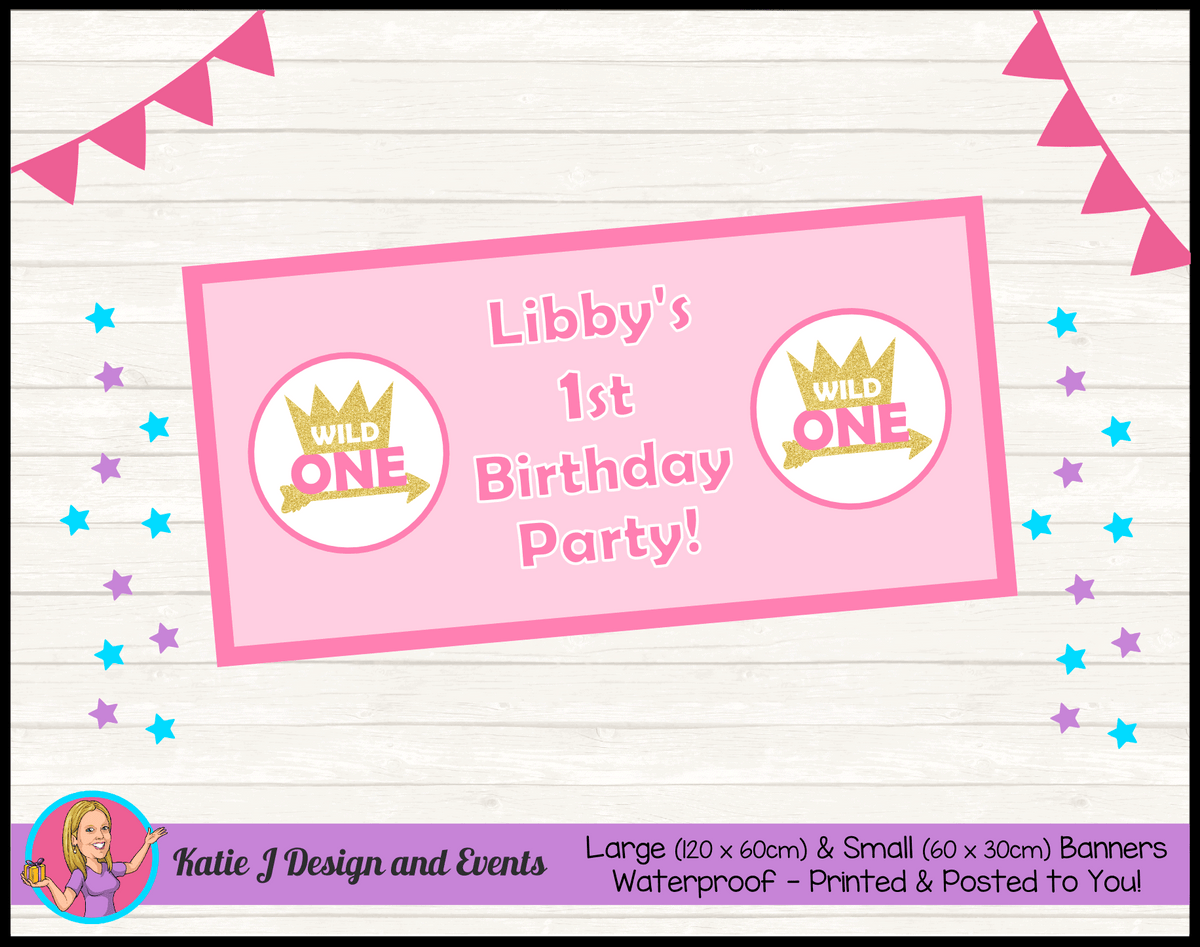 Personalised Girls Wild One Birthday Party Banner