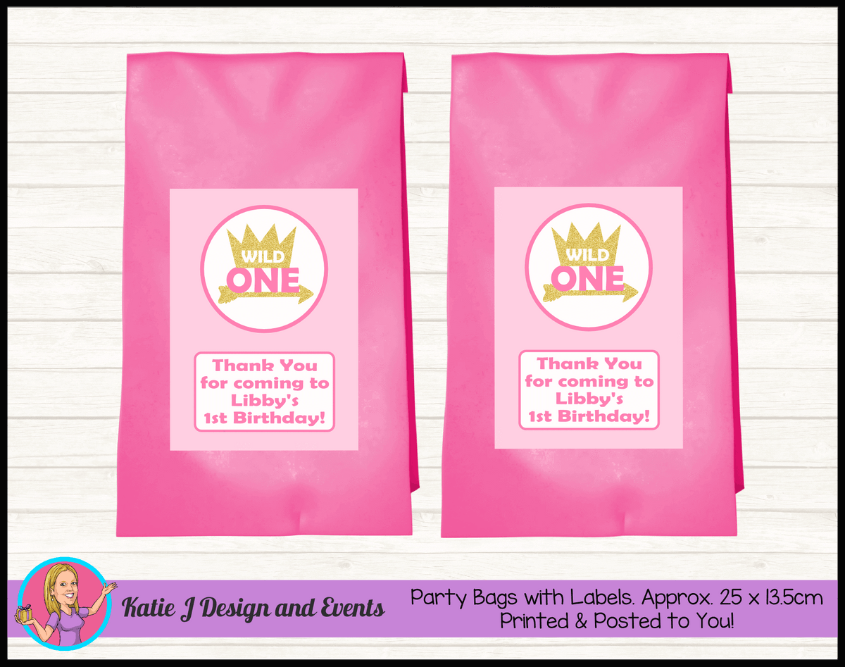 Personalised Girls Wild One Birthday Party Loot Bags
