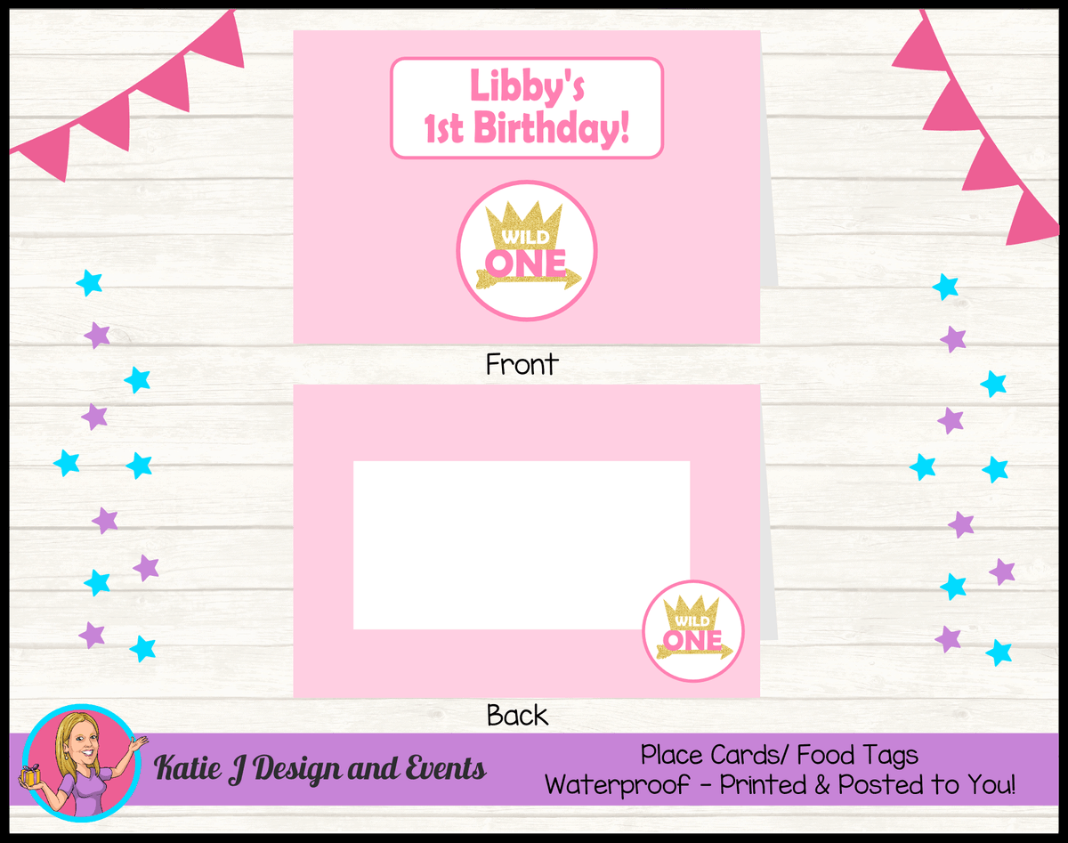 Personalised Girls Wild One Party Place Cards