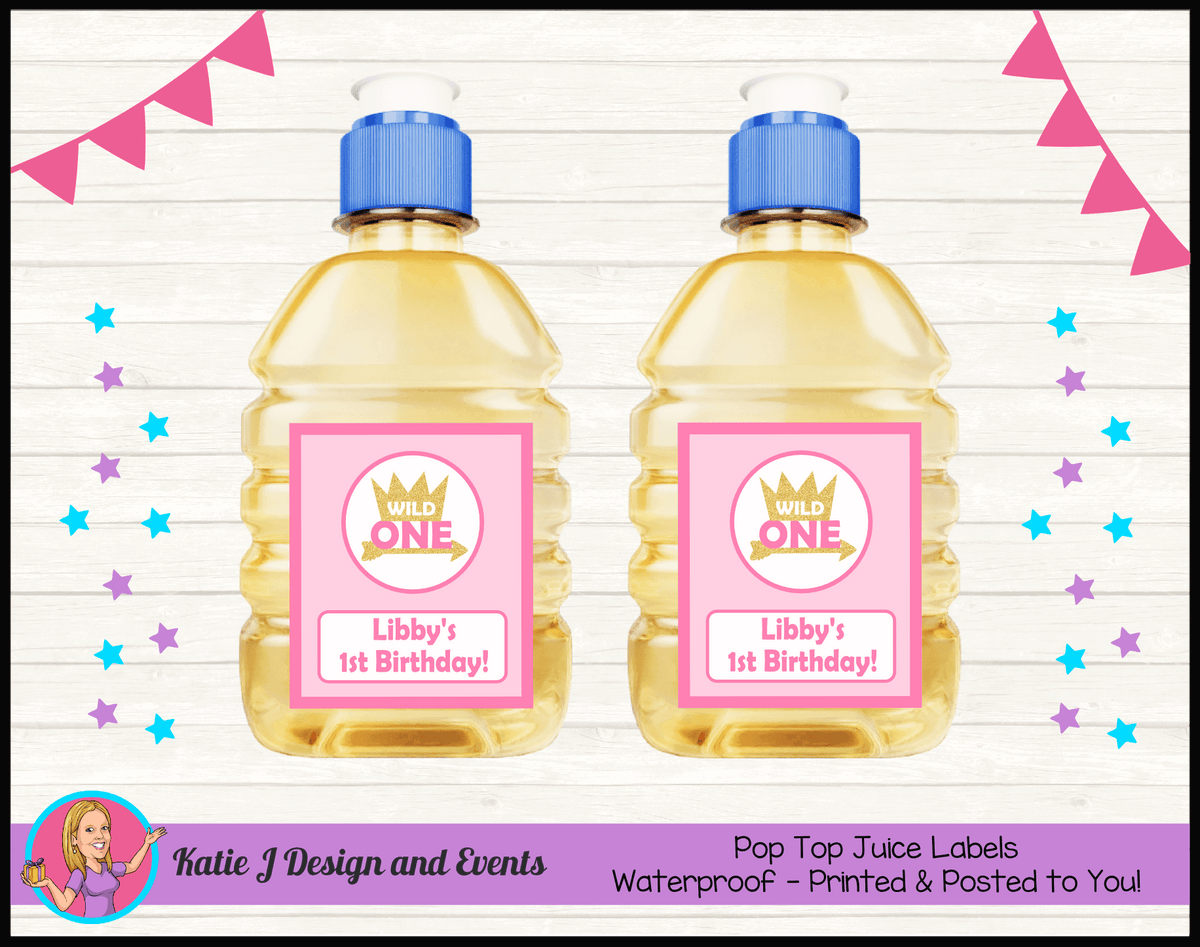 Personalised Girls Wild One Pop Top Juice Labels