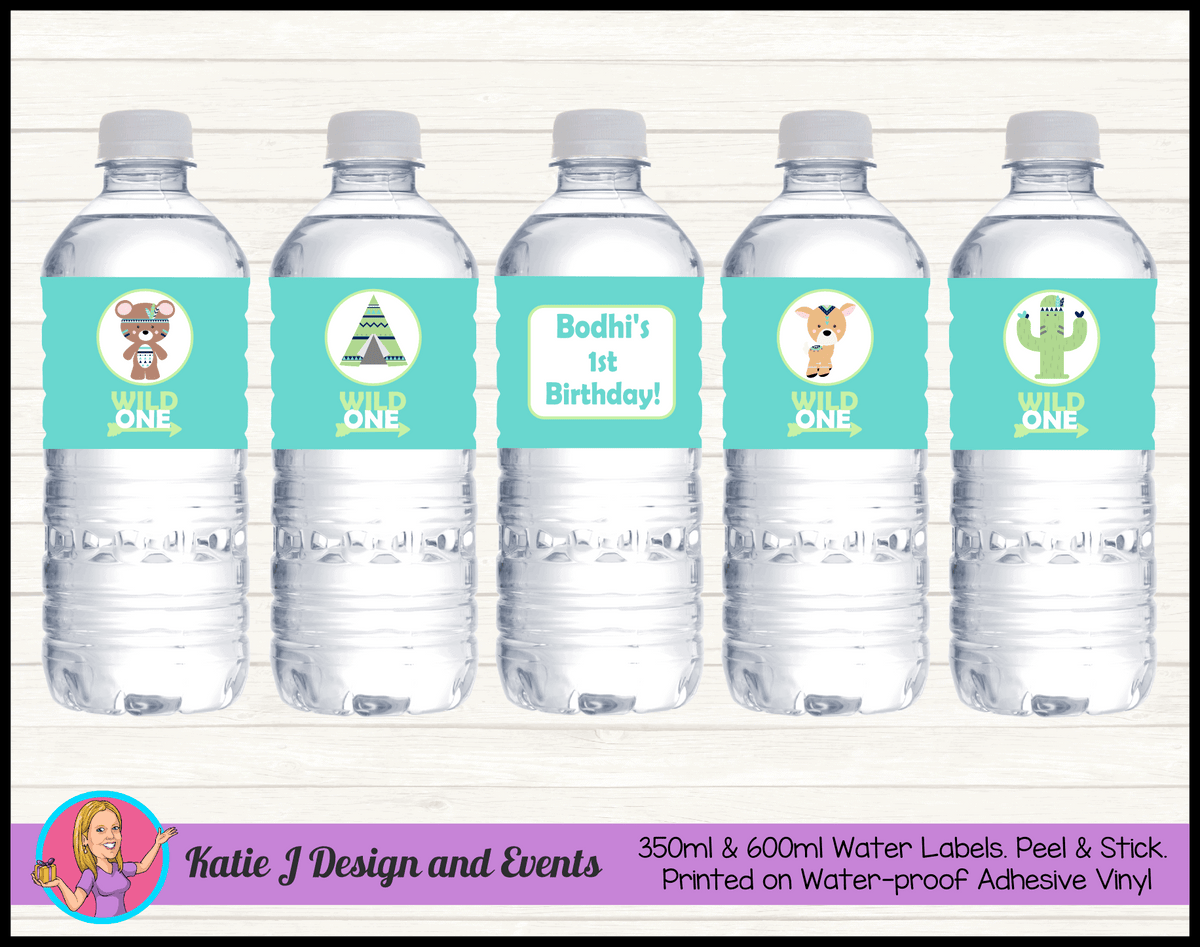 Personalised Tribal Wild One Animals Birthday Water Labels