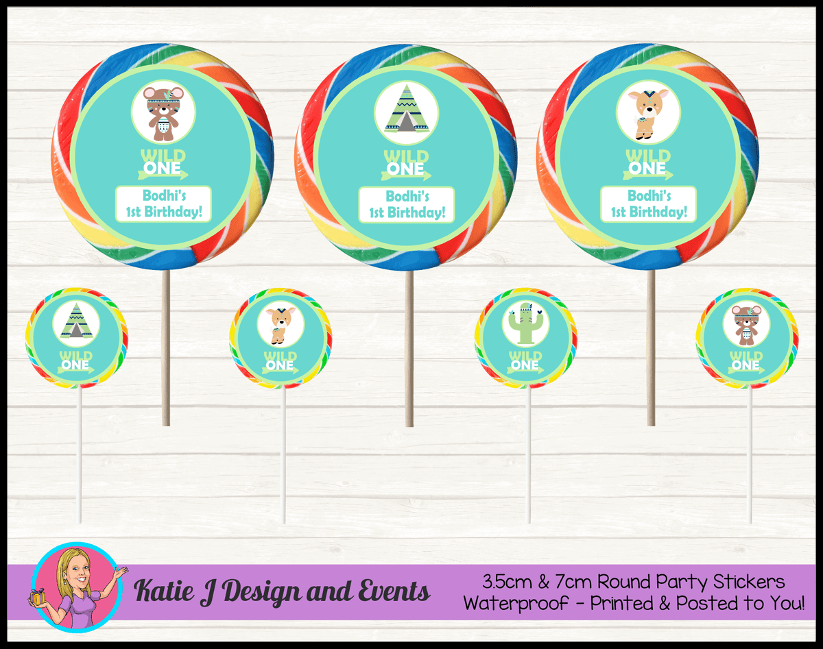 Personalised Tribal Wild One Animals Round Lollipop Stickers