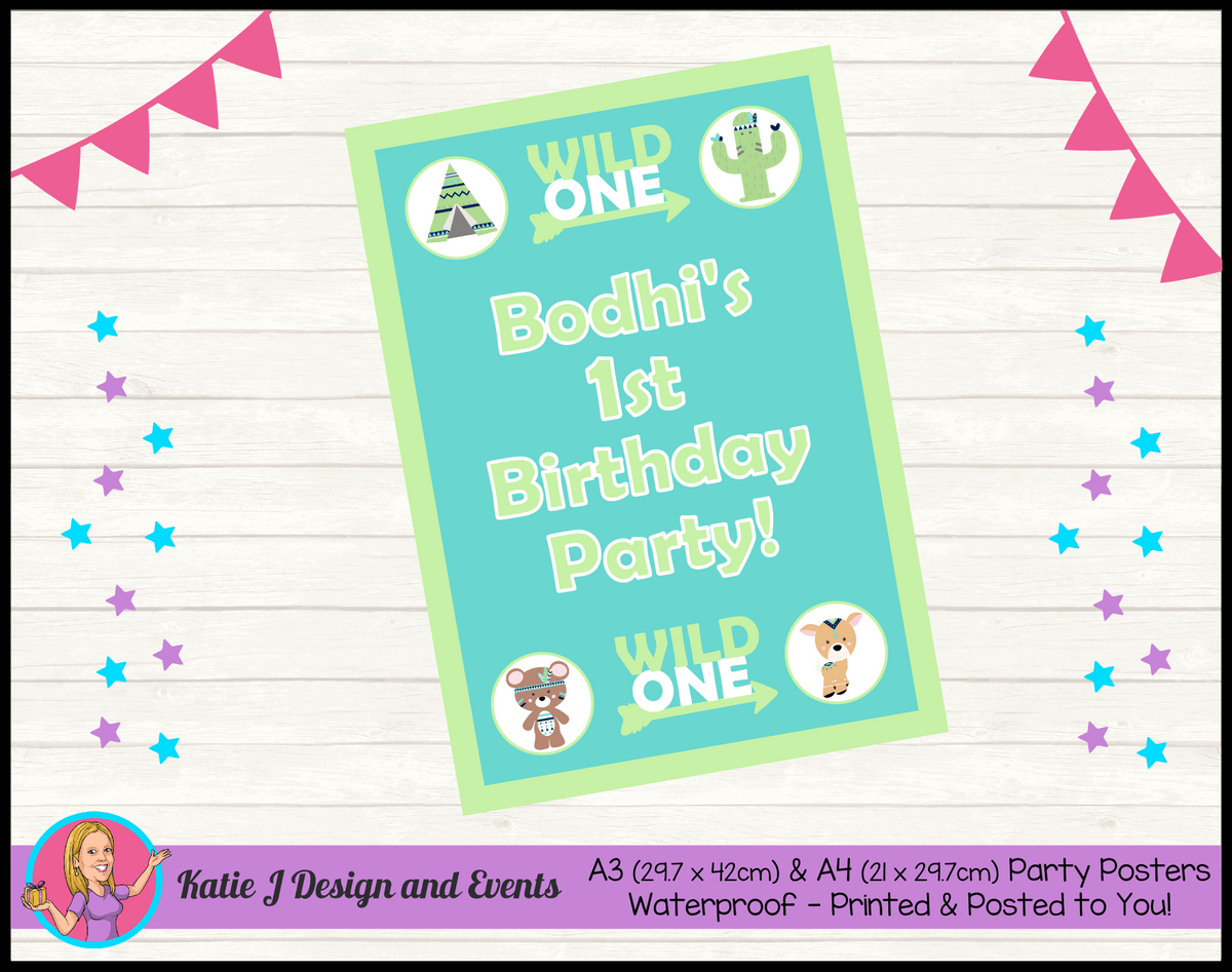 Personalised Tribal Wild One Animals Birthday Party Poster