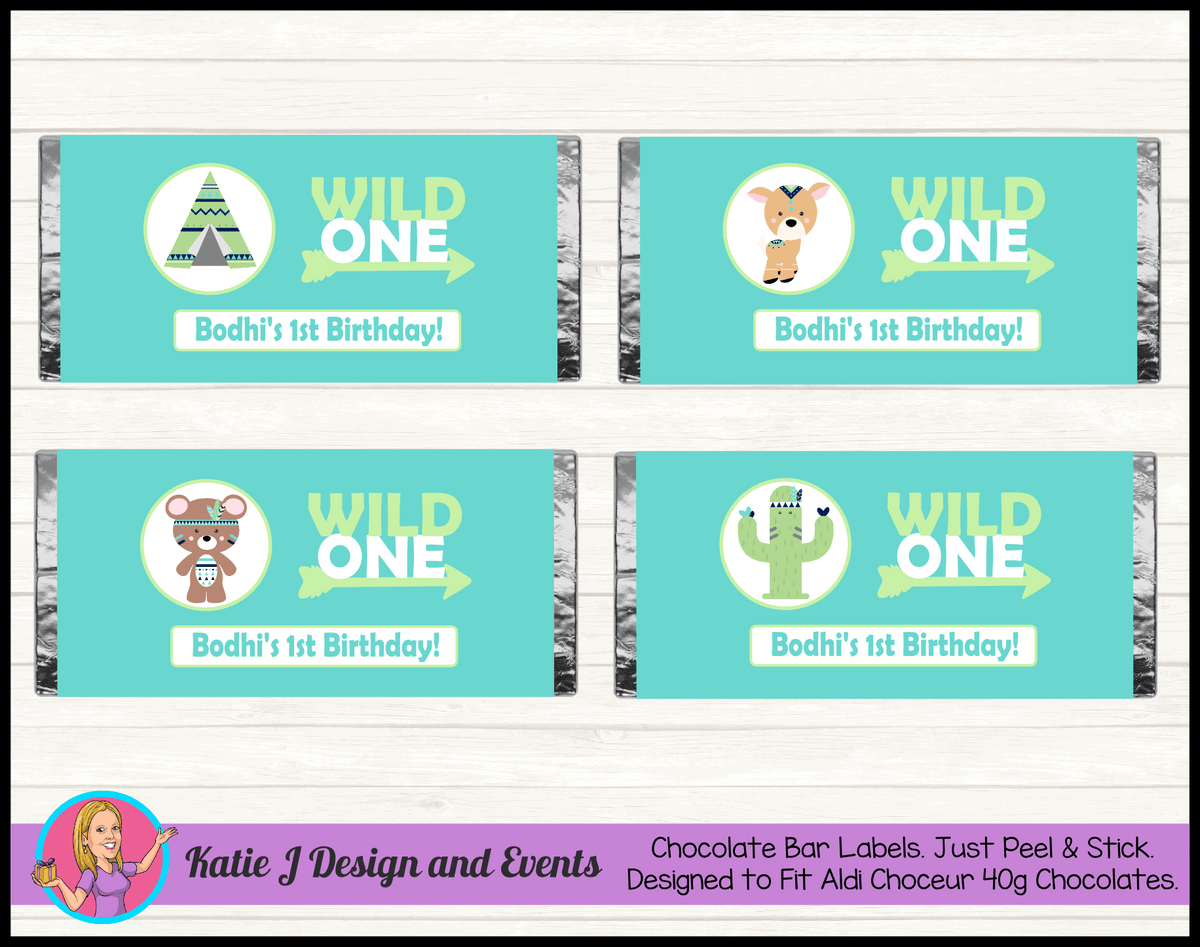 Personalised Tribal Wild One Animals Birthday Chocolate Labels Wrappers