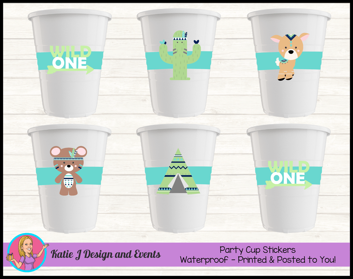 Personalised Tribal Wild One Animals Party Cups Cup Stickers