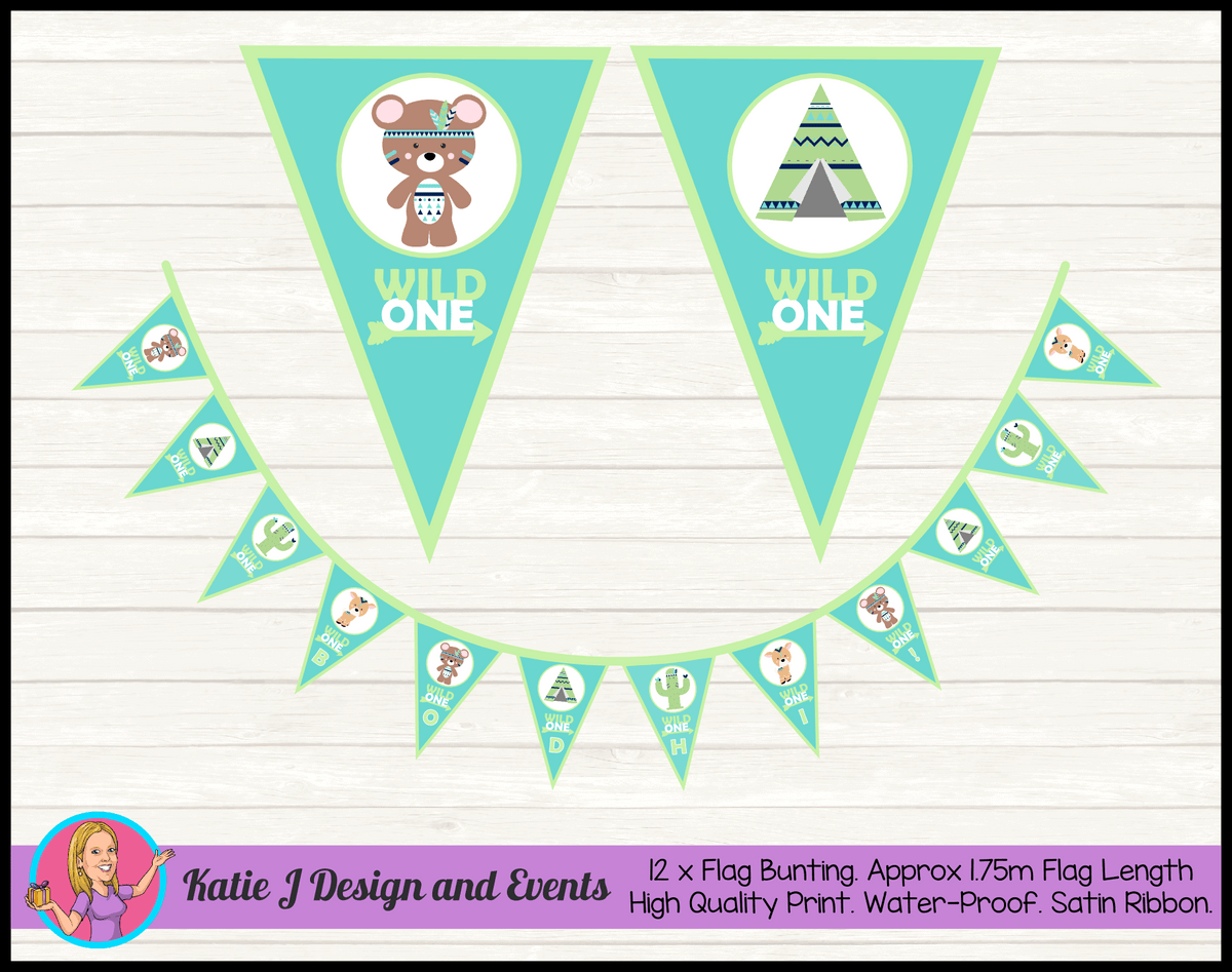 Personalised Wild One Tribal Animals Birthday Party Decorations