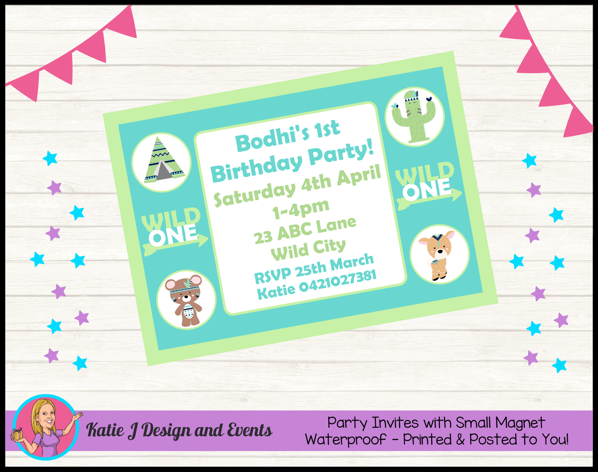 Personalised Tribal Wild One Animals Birthday Party Invites