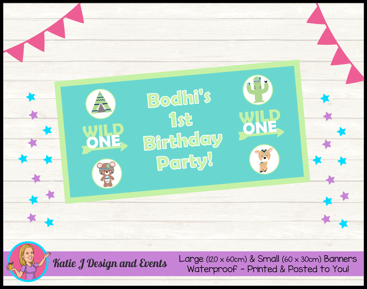 Personalised Tribal Wild One Animals Birthday Party Banner