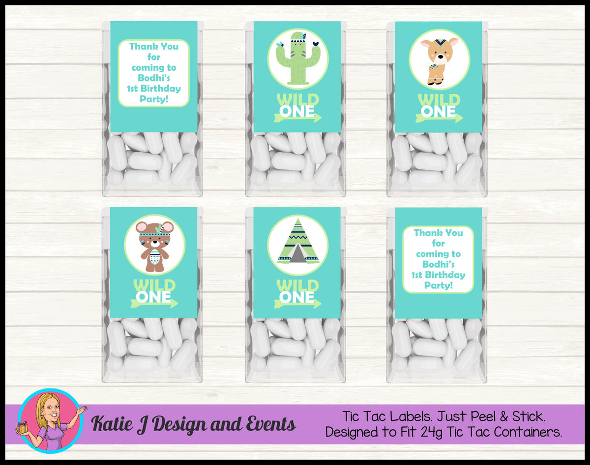 Personalised Tribal Wild One Animals Tic Tac Mint Labels