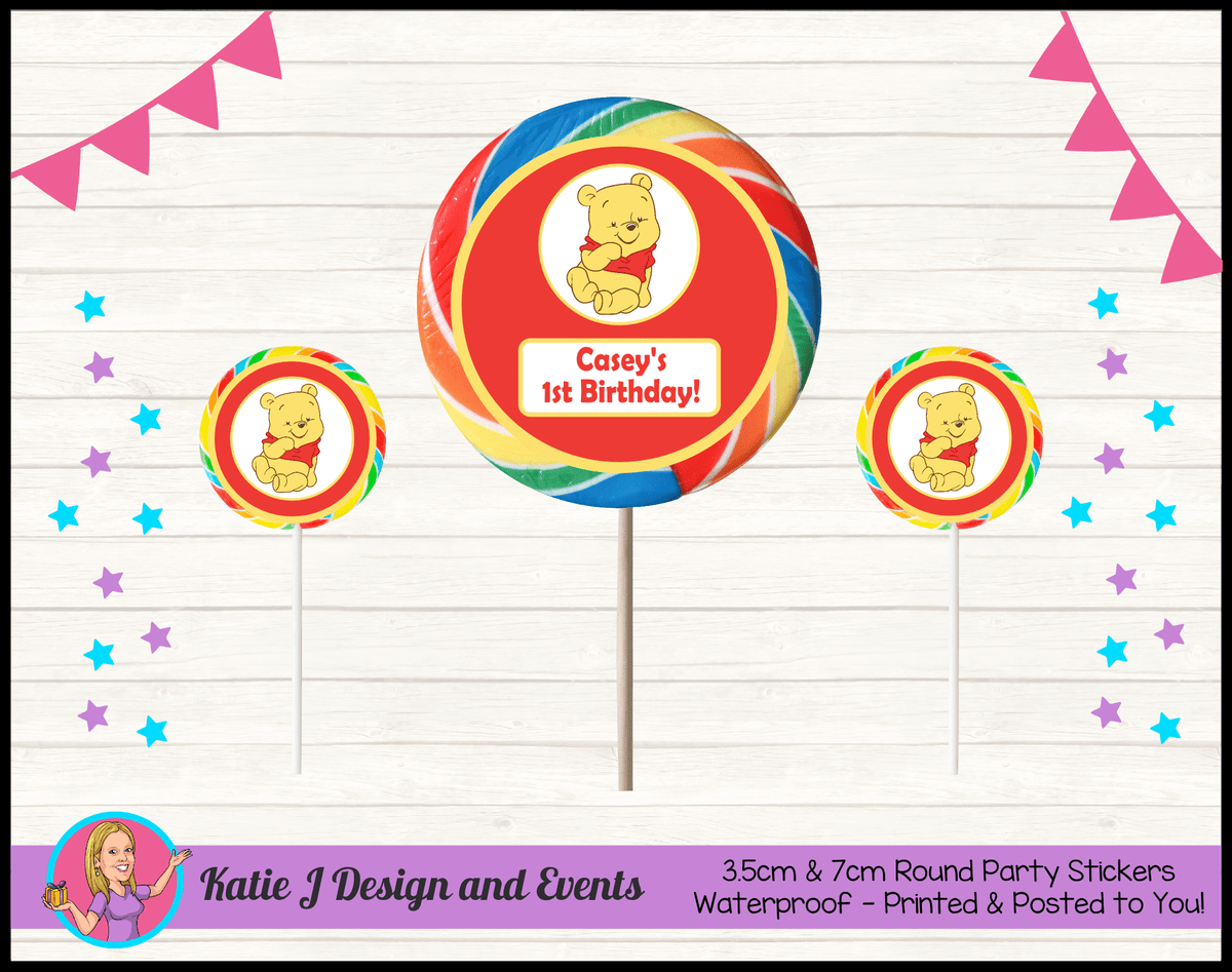 Personalised Winnie the Pooh Round Lollipop Stickers