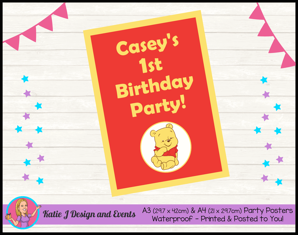 Personalised Winnie the Pooh Birthday Party Poster