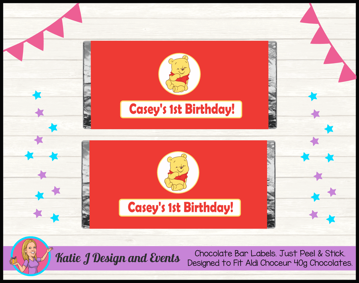 Personalised Winnie the Pooh Birthday Chocolate Labels Wrappers