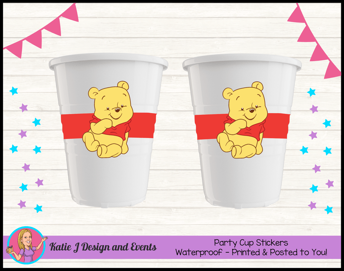 Personalised Winnie the Pooh Party Cups Cup Stickers