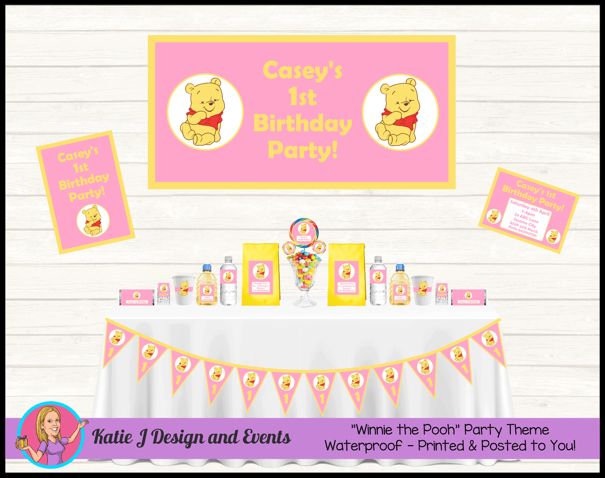 Personalised Pink Winnie the Pooh Party Packs Decorations Supplies