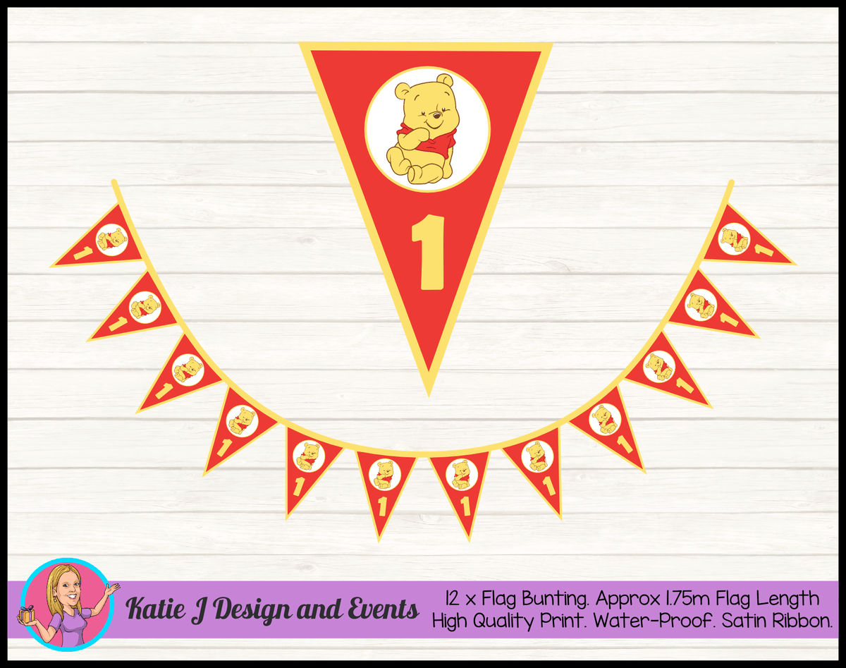 Personalised Winnie the Pooh Birthday Party Flag Bunting