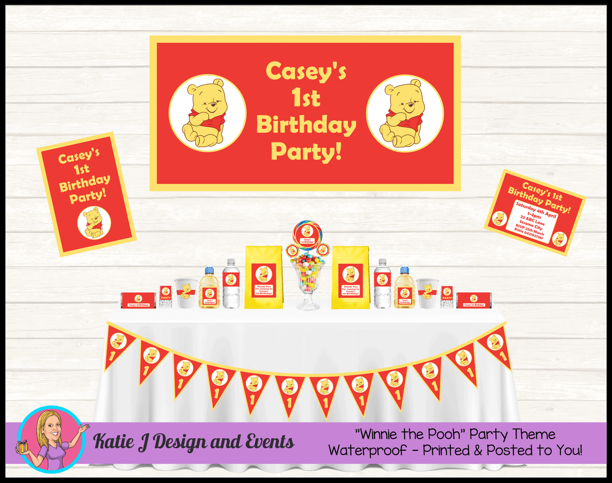Personalised Red Winnie the Pooh Party Packs Decorations Supplies