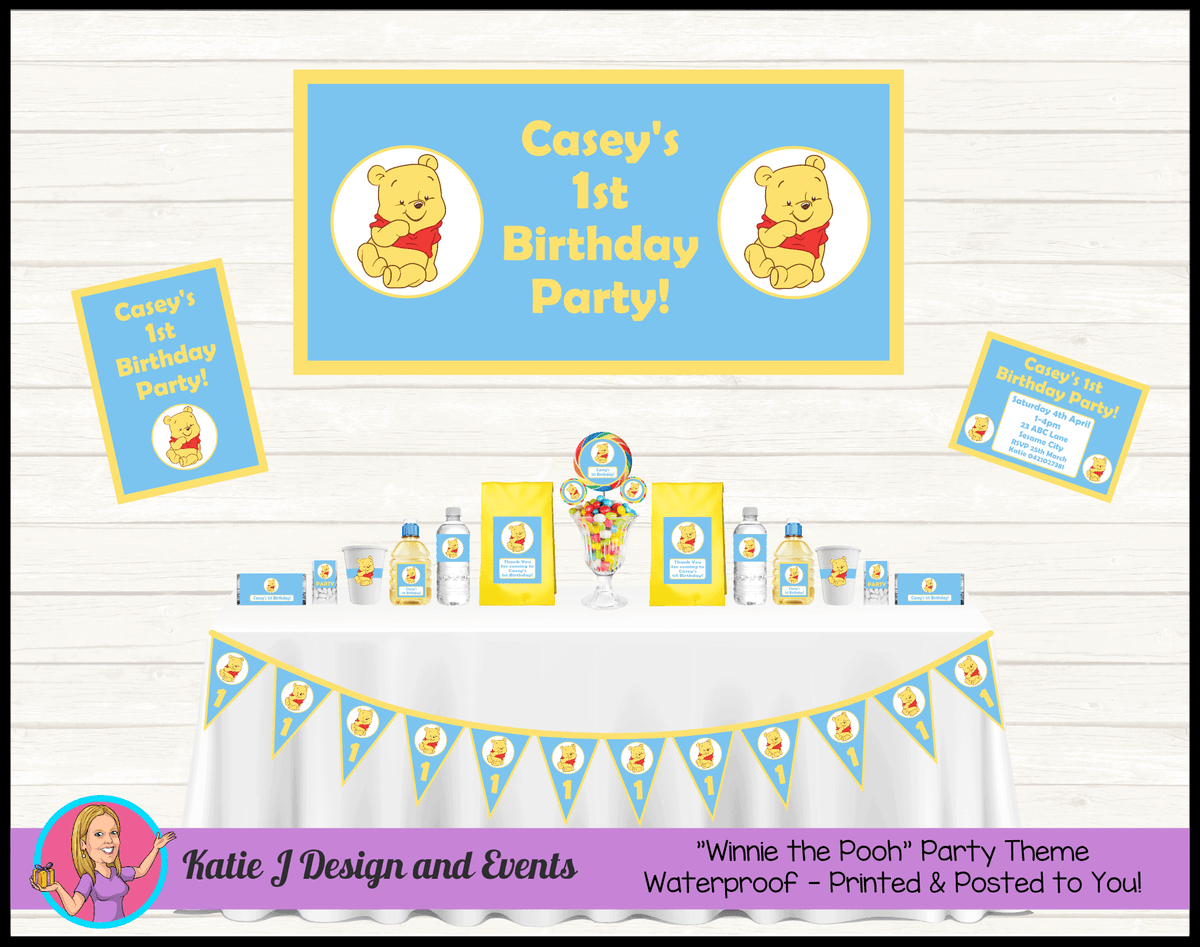 Personalised Blue Winnie the Pooh Party Packs Decorations Supplies