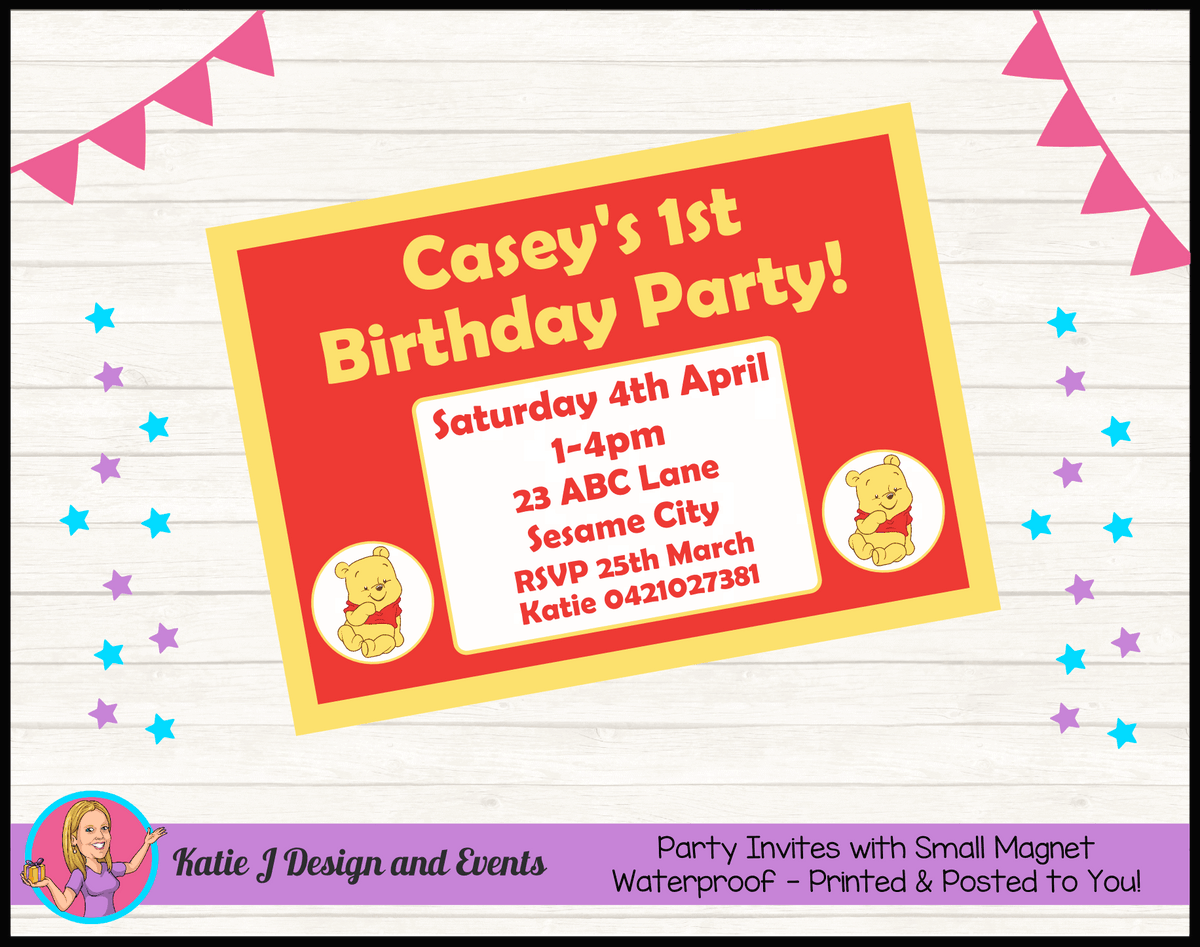 Personalised Winnie the Pooh Birthday Party Invites