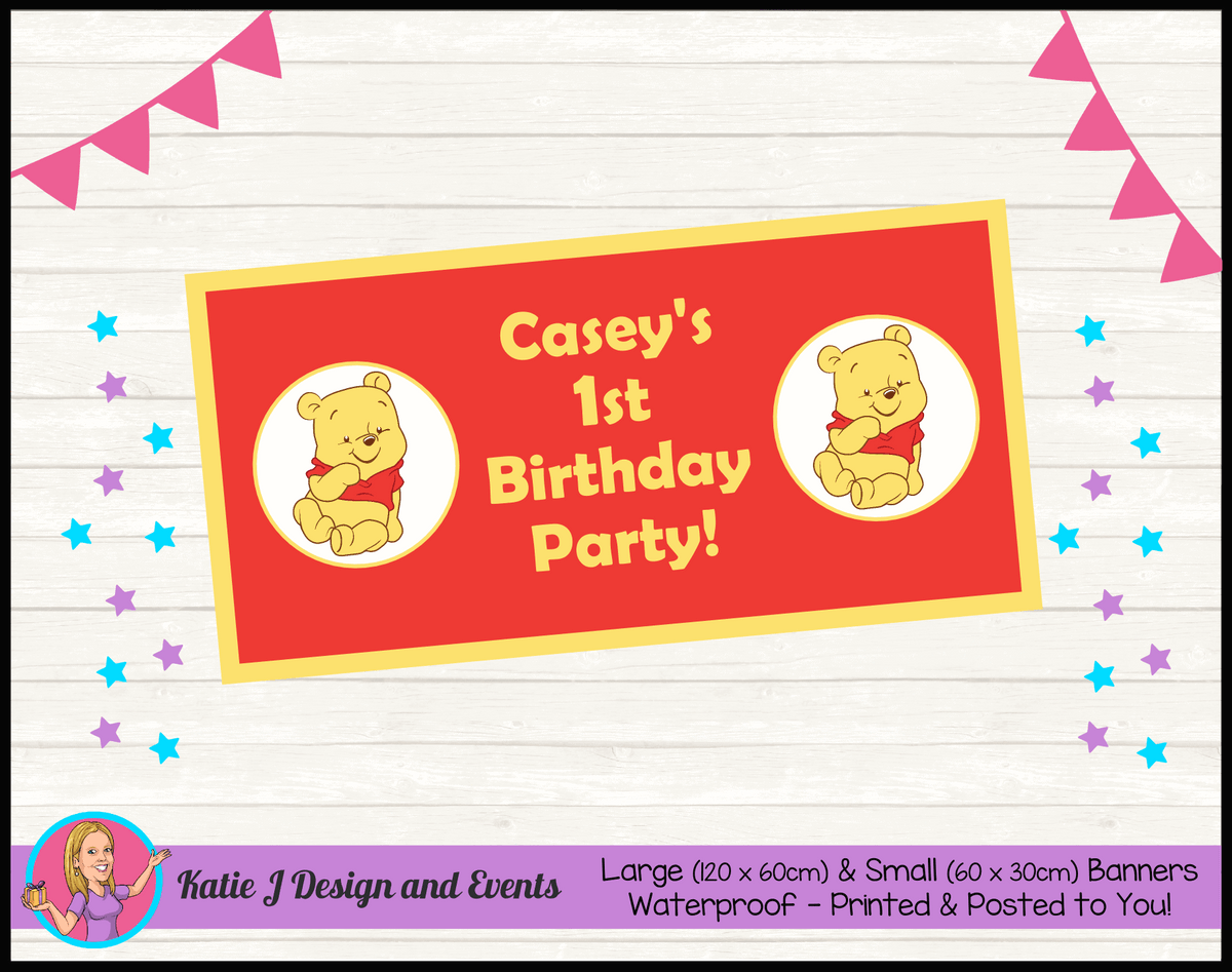 Personalised Winnie the Pooh Birthday Party Banner