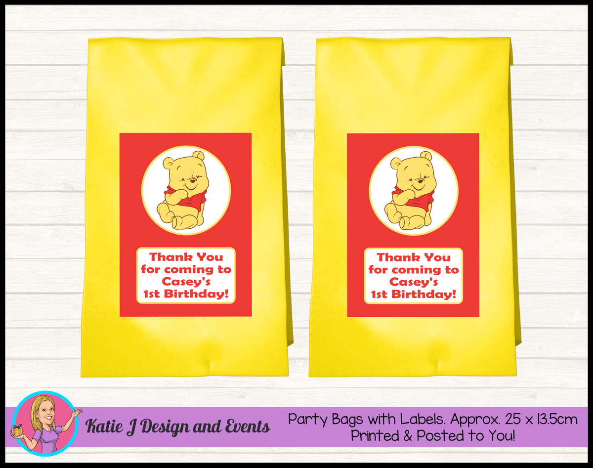 Personalised Winnie the Pooh Birthday Party Loot Bags