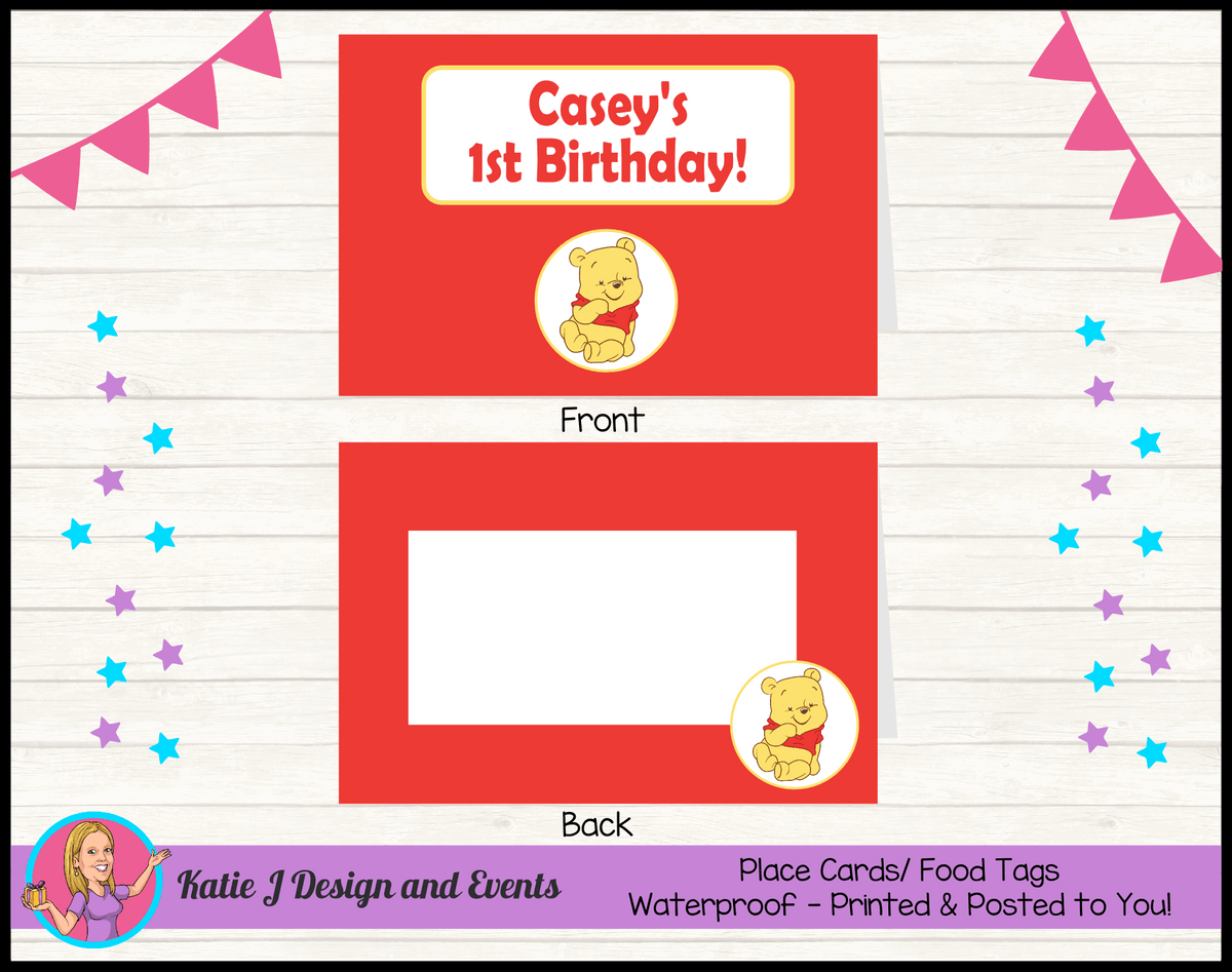 Personalised Winnie the Pooh Party Place Cards