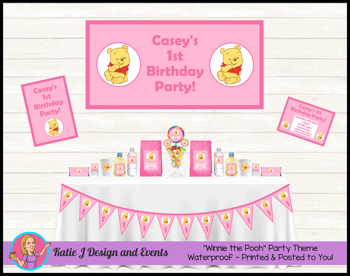 Personalised Girls Winnie the Pooh Party Packs Decorations Supplies