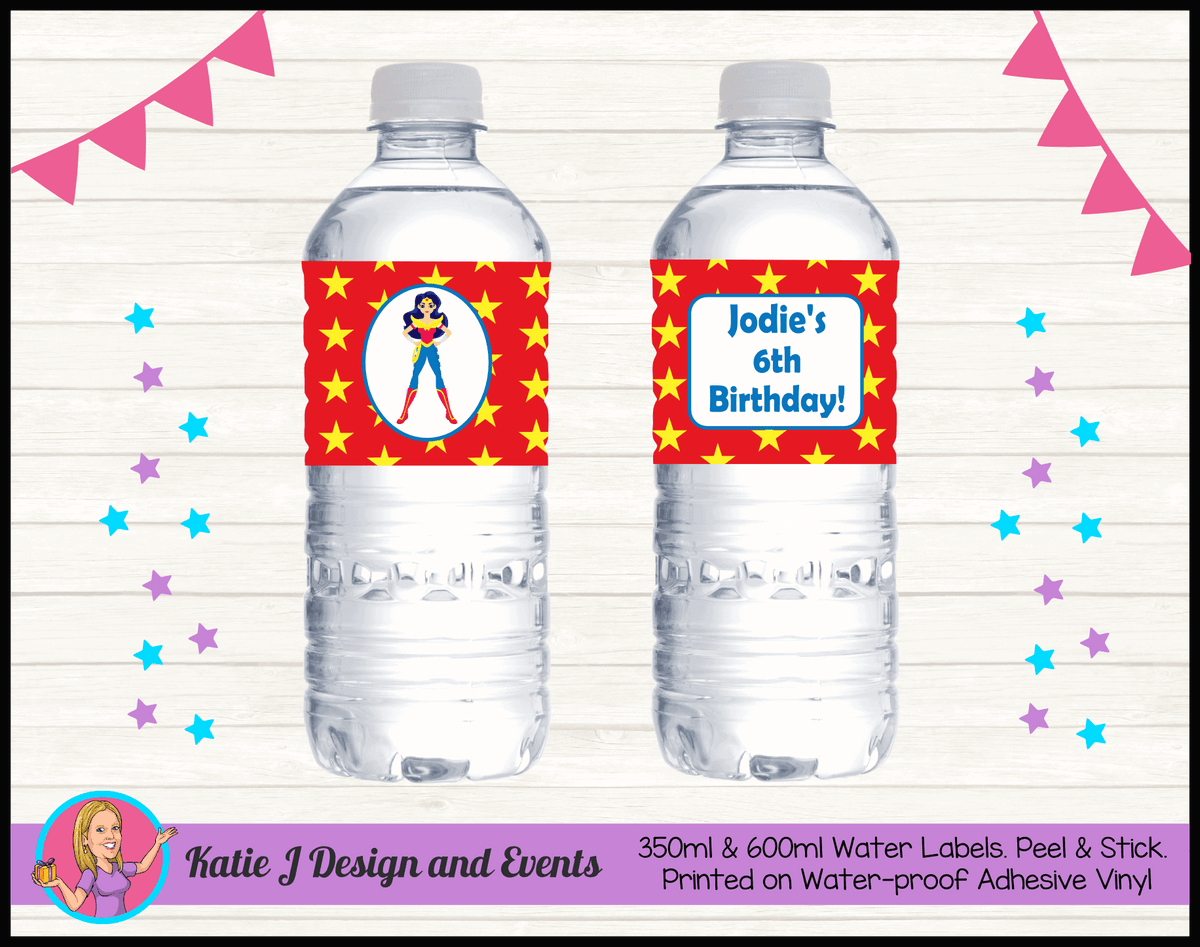 Personalised Wonder Woman Birthday Water Labels