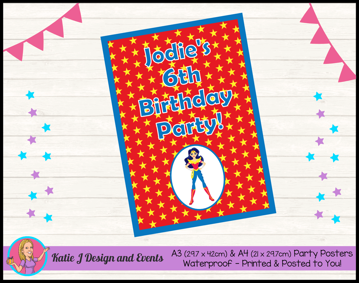 Personalised Wonder Woman Birthday Party Poster