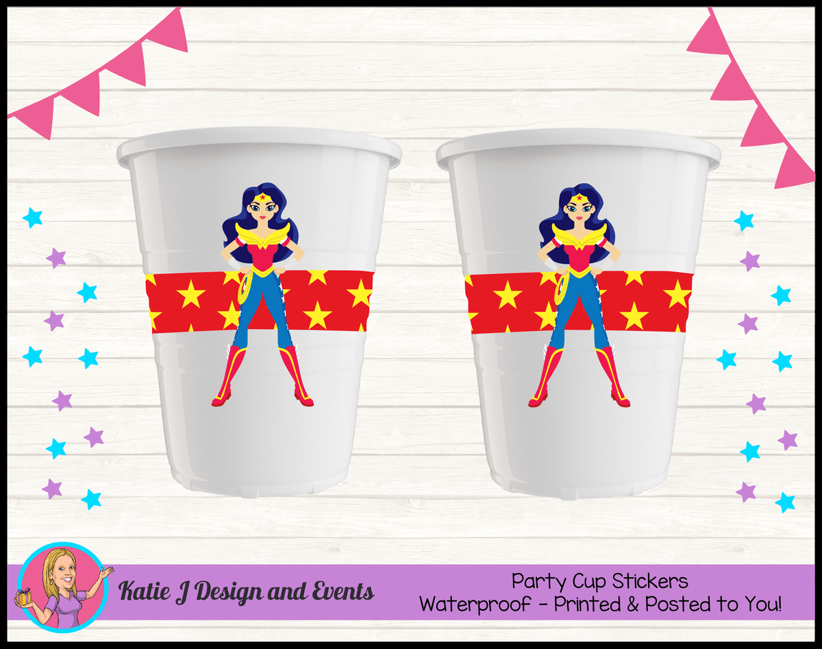 Personalised Wonder Woman Party Cups Cup Stickers