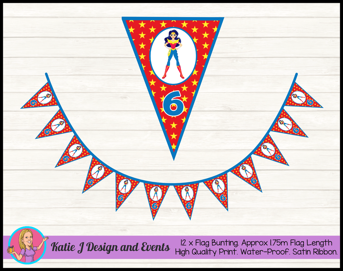 Personalised Wonder Woman Birthday Party Flag Bunting