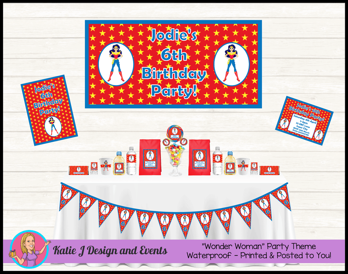 Personalised Wonder Woman Party Packs Decorations Supplies