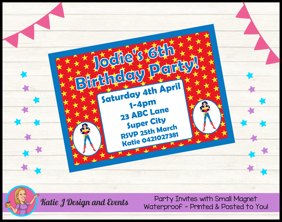 Personalised Wonder Woman Birthday Party Invites