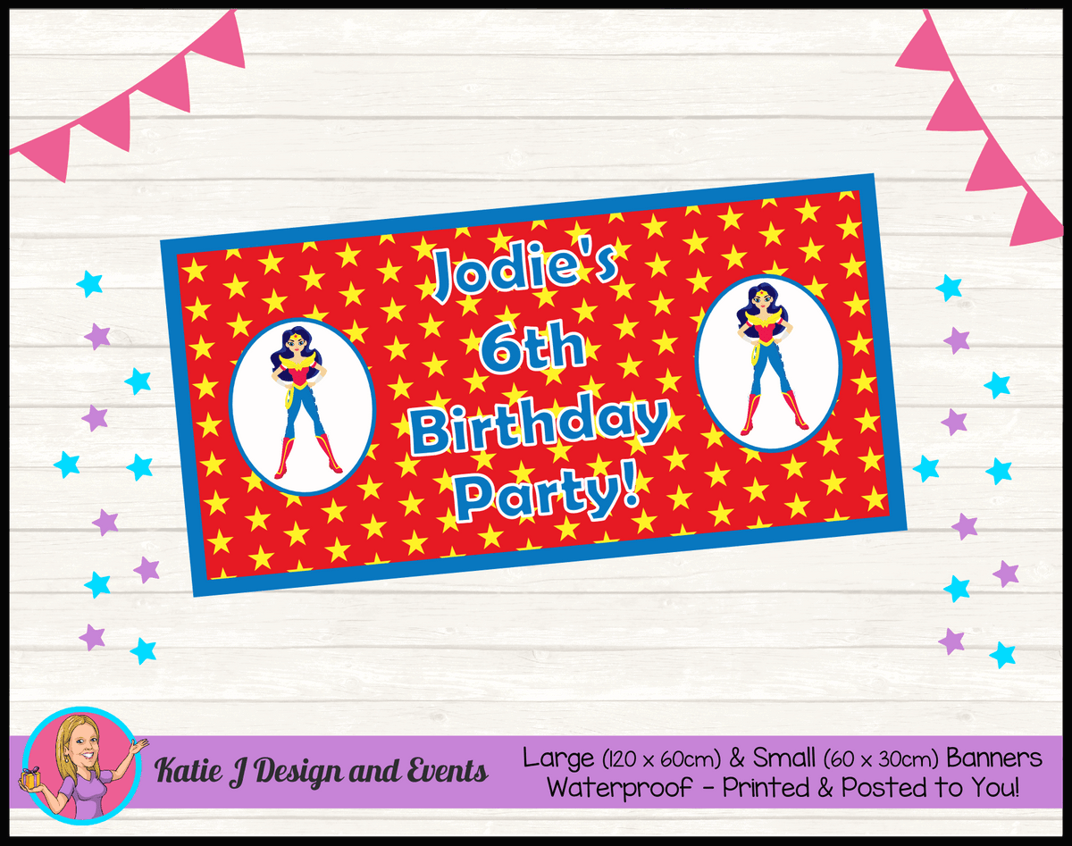 Personalised Wonder Woman Birthday Party Banner