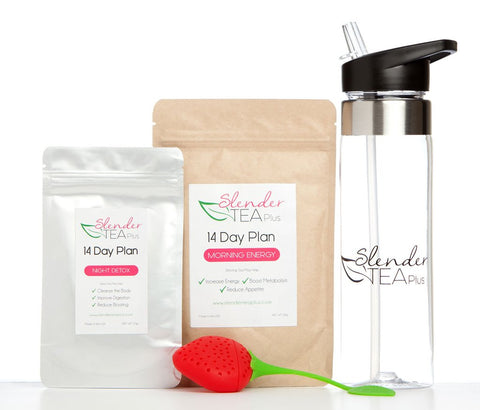 14 Day FIT Girl Package (Morning Energy & Detox Tea, Gym Bottle & Tea Strainer)
