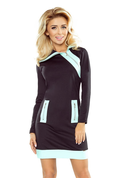 Numoco 129-6 JUSTYNA dress with three zippers - black + mint zippers