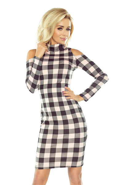 Numoco 165-1 Dress in black and pink check with semi-golf and holes on the shoulders