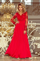 213-3 ARATI long dress with embroidered neckline and long sleeves - red color