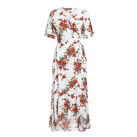 Floral print sash bow tie women midi dress