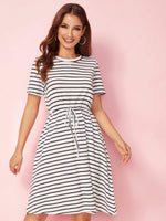 Striped Drawstring Waist T-shirt Dress