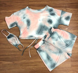 Bonnie Forest Casual Tie Dye Set Two Pieces Outfits WIth Mask Sporty