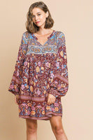 Floral Mixed Print Long Puff Sleeve Split Neck Dress