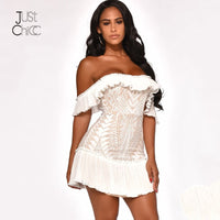 Justchicc White Bodycon Sexy Dress Women Off Shoulder Ruffles Party