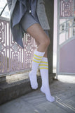 Women's Solid Yellow Stripe Knee High Socks
