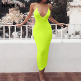 Kliou 2019 summer women sexy strap v neck dress solid Neon color