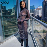 Kliou sexy mesh dress full sleeve 2020 summer dresses for women hollow