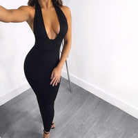 Nattemaid Bodycon Sexy Dress Women Knitted Deep V Neck Backless