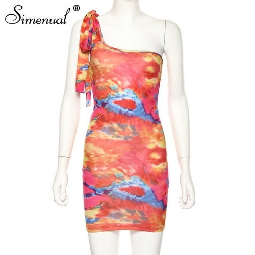Simenual Sexy Hot Tie Dye Women Bodycon Dress One Shoulder Bandage
