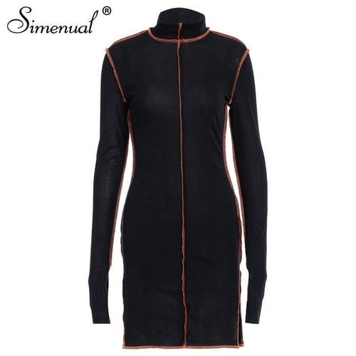 Simenual Side Slit Patchwork Women Casual Dresses Long Sleeve
