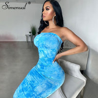 Simenual Tie Dye Ruched Strapless Maxi Dresses Women 2020 Summer