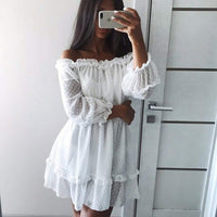 Werynica 2020 new women's summer ruffle dress white dress bare